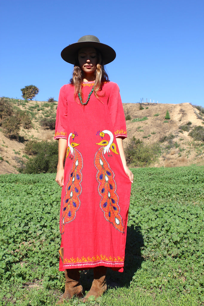 """Indian DayDreams"" Vintage Indian maxi Dress Hand Embroidered"