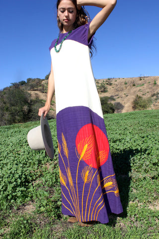 """Blood Moon"" 1970s Mama Carlota Handmade Maxi Dress"