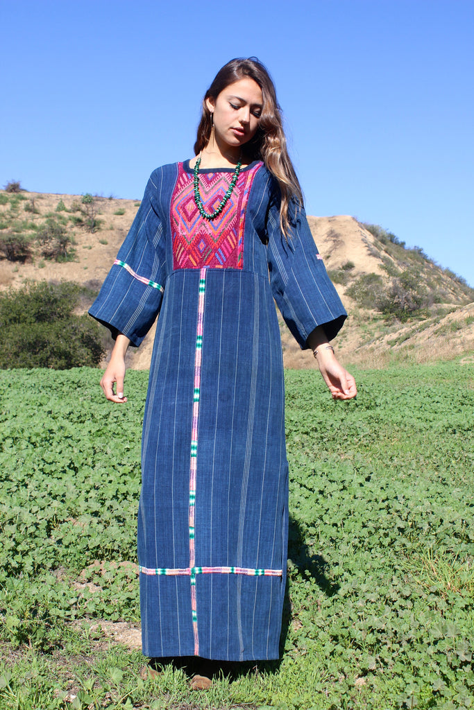 """Indigo Maxi"" 1970s Guatemalan Handwoven Folk Art Maxi Dress"