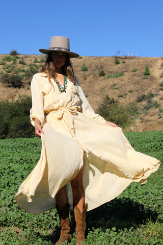 """Daughter of the Desert"" 1970s Gauzy Button Down Maxi Dress"