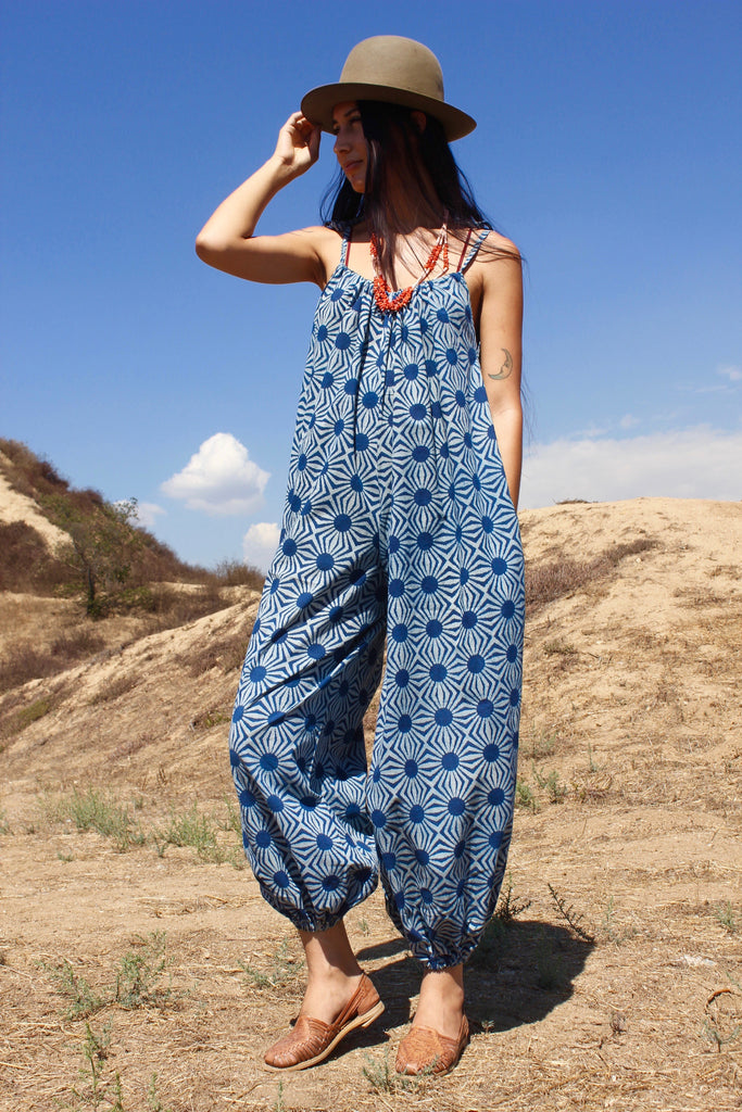 """Cosmic Indigo"" Honeywood Hand Printed Indian Cotton Indigo Jumpsuit"