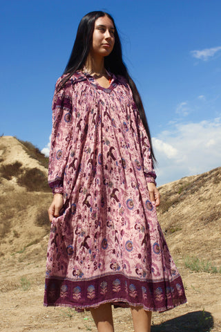 """Plum Wine"" Vintage Indian Gauze Dress"