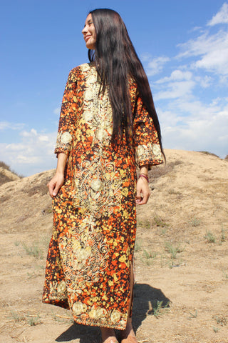 """Golden Hour"" Vintage Pakistan Chain Stitched Maxi Dress"