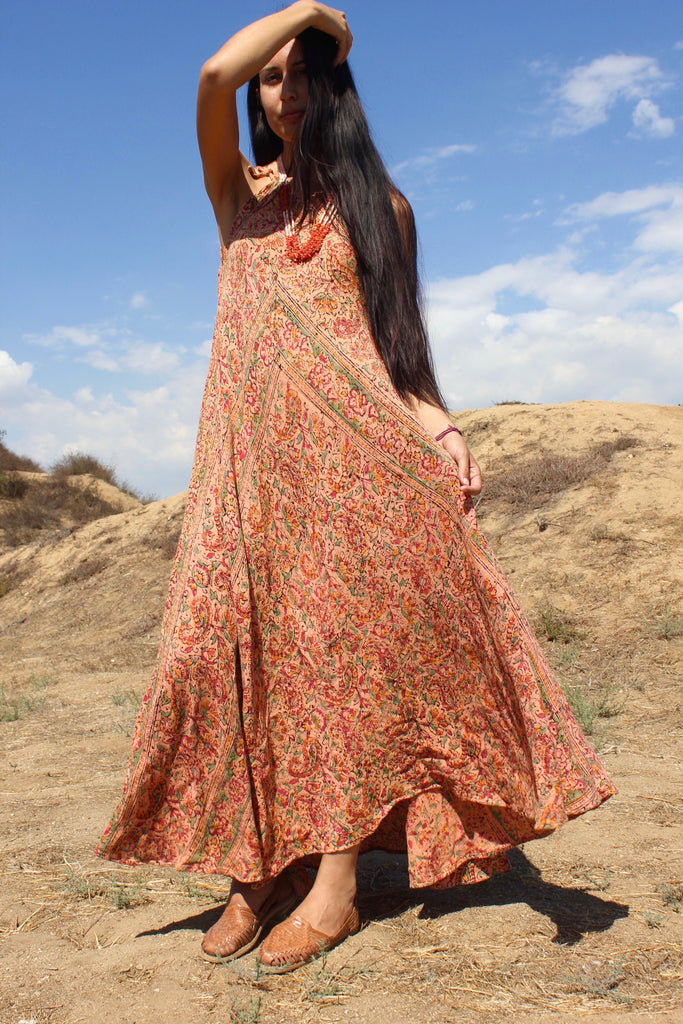 """Mojave Maiden"" Vintage Indian Gauze Dress circa  ~ 1970s"