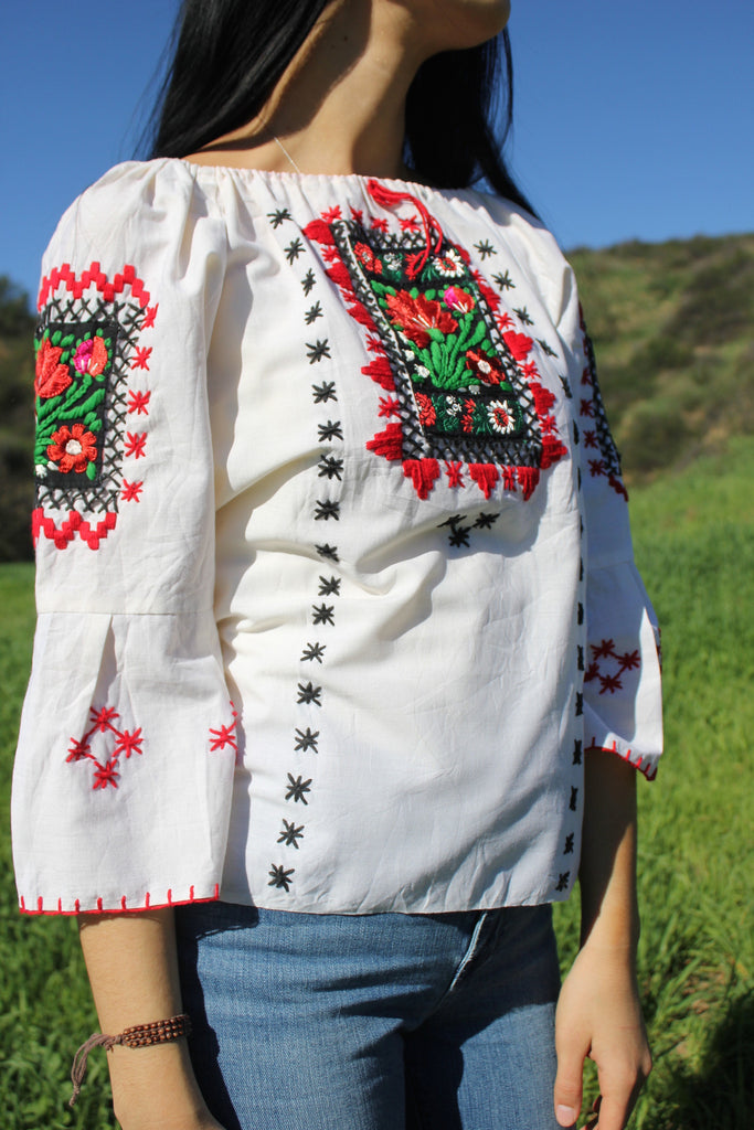 Handmade Mexican Peasant Blouse Honeywood