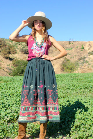 """Bells and Mirrors""  Vintage Indian Embroidered Skirt"