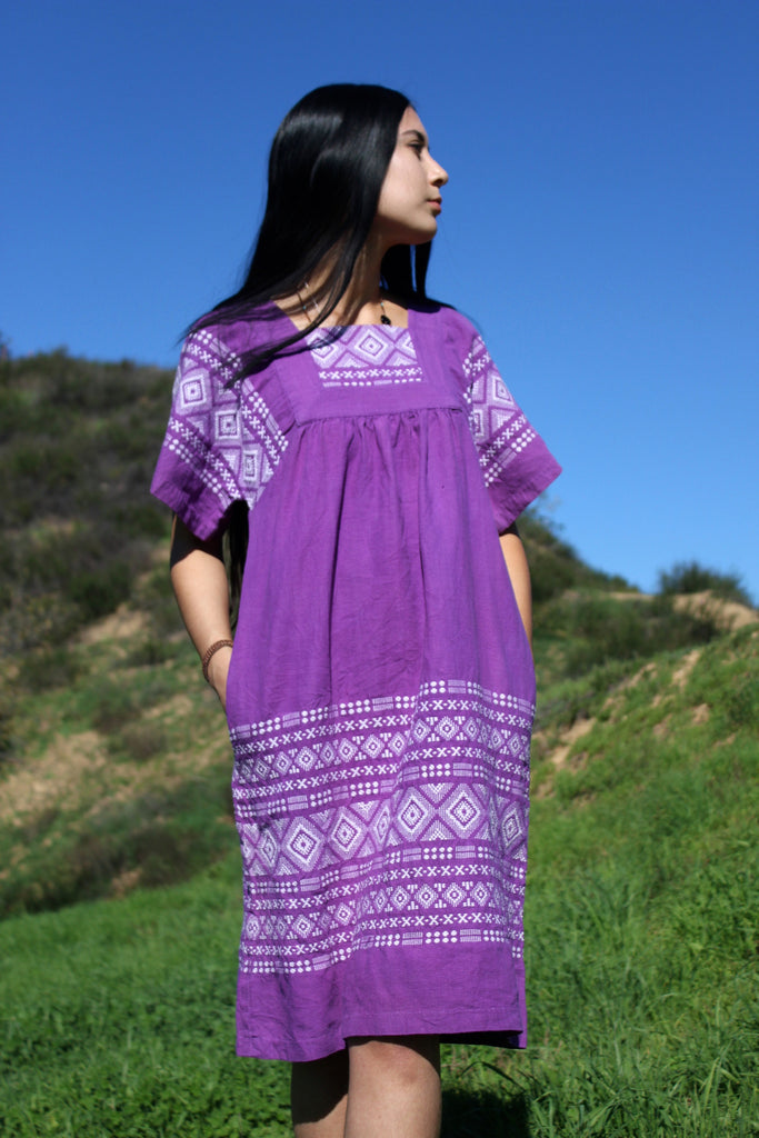 Pretty in Purple 1970s Handwoven Guatemalan Dress