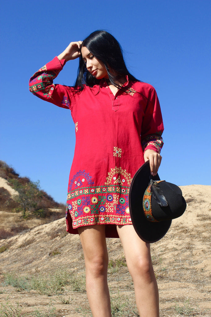 1970s Hand Embroidered Indian Tunic/Dress