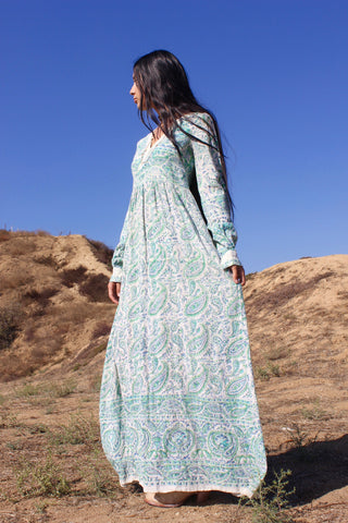 """Elegant Hippie"" Vintage Indian Cotton Block Print Maxi"