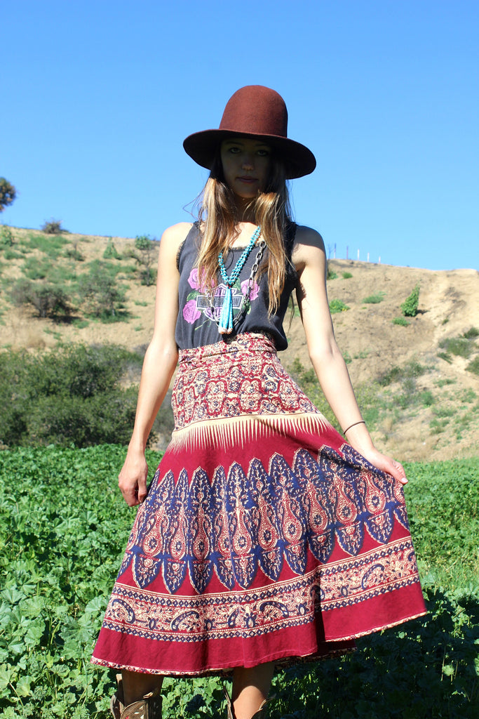 1970s Indian Block Print Wrap Skirt