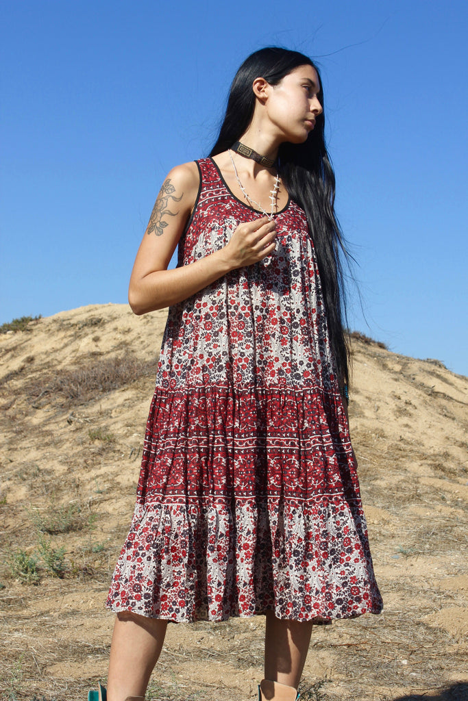 SALE Vintage Indian Cotton Tank Dress