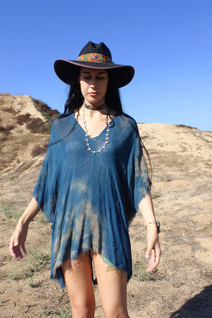 """High Weeds"" totally blown indigo dyed poncho tunic"