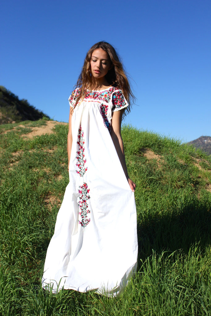 Luscious and Lovely Vintage Oaxacan Maxi Dress