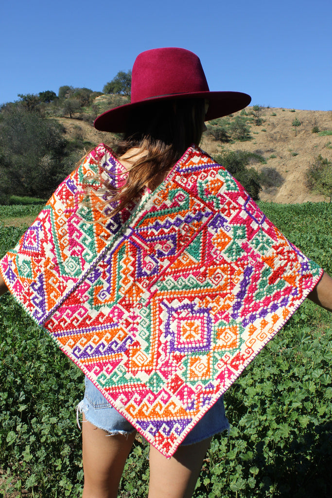 Vintage Mexican Embroidered Poncho Circa 1970s