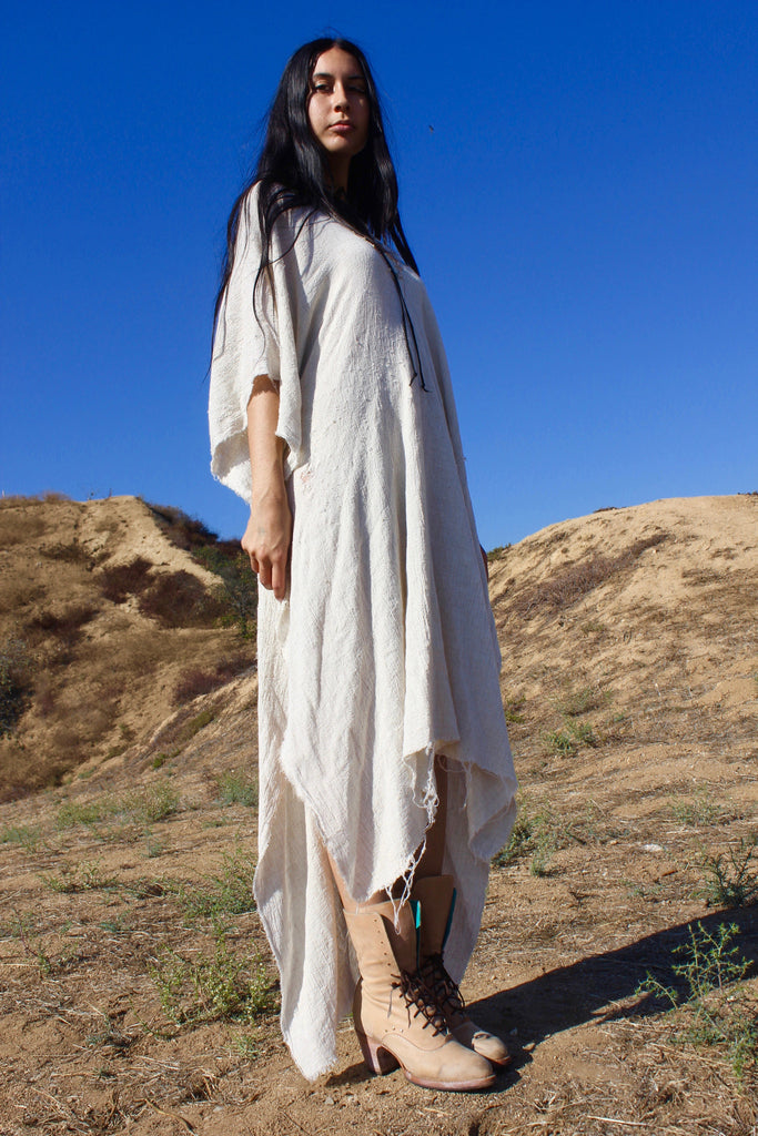"""Totally Blown"" Long Natural Poncho"