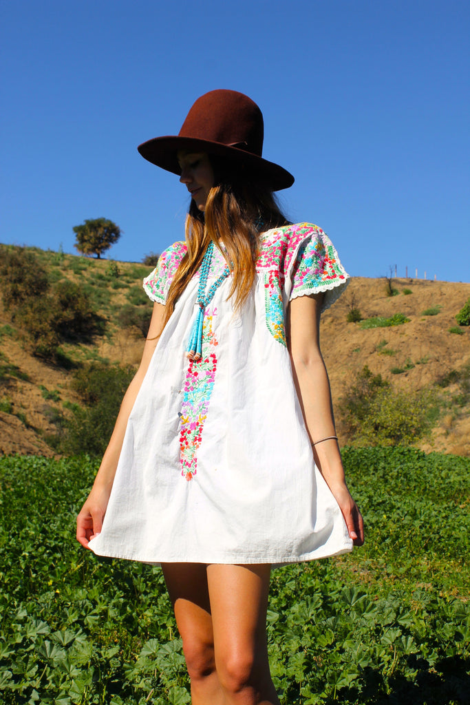 Vintage Oaxacan Beauty Hand Embroidered Mini Dress 1970s