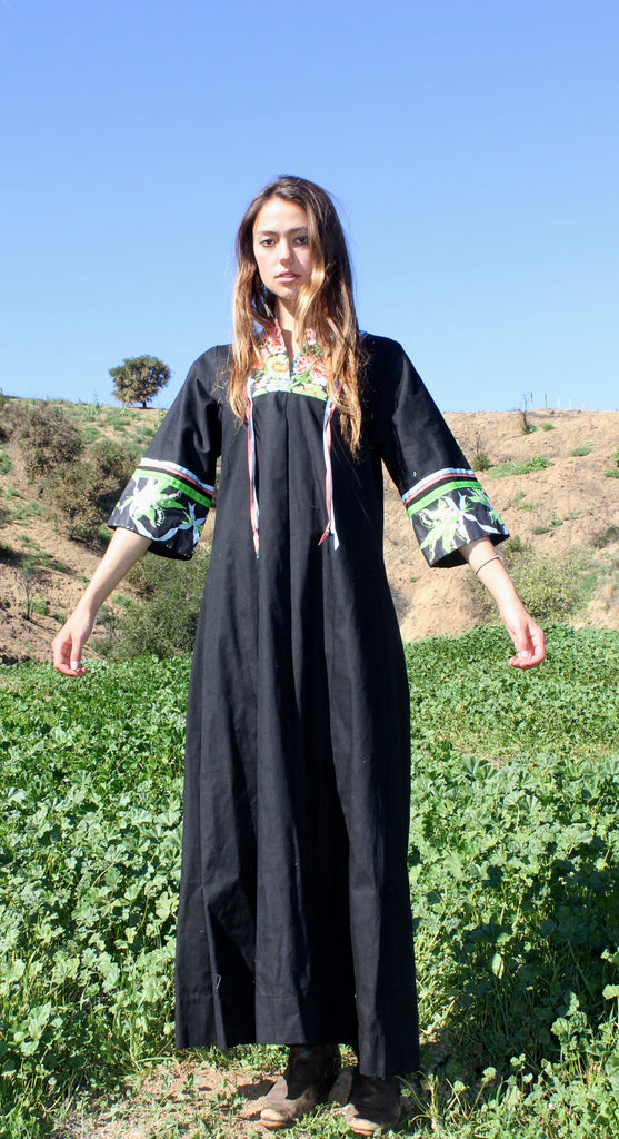 """Midnight Garden"" Handmade One-of-a-Kind Cotton Maxi Dress"