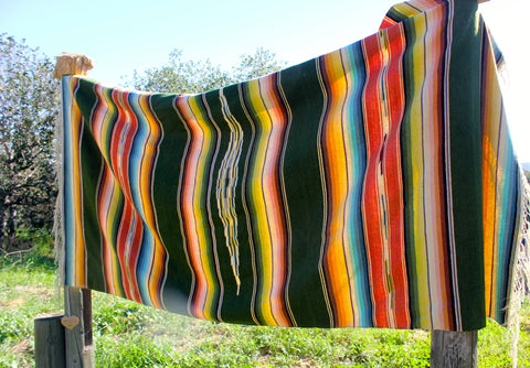 Saltillo Blanket Mid Century Handwoven Beauty