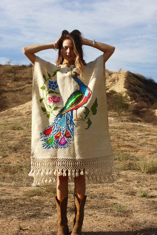 """Technicolor Peacock"" Vintage Hand Embroidered Mexican Poncho"
