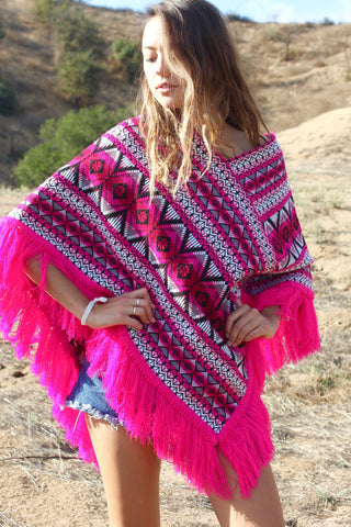 """Pink Fiesta"" Vintage Woven Mexican Poncho"
