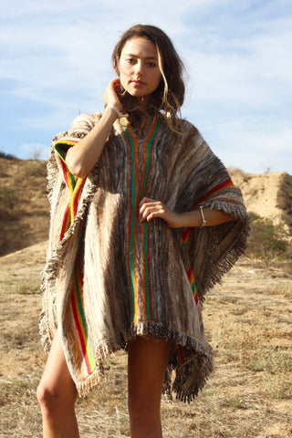 """Peruvian Mountain Poncho"" Vintage and Super Soft"