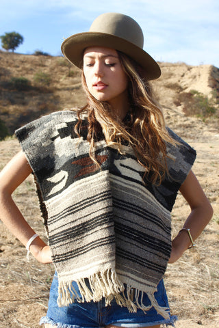 "Mexican ""Peyote Bird"" Hand Woven Vintage Wool Poncho"