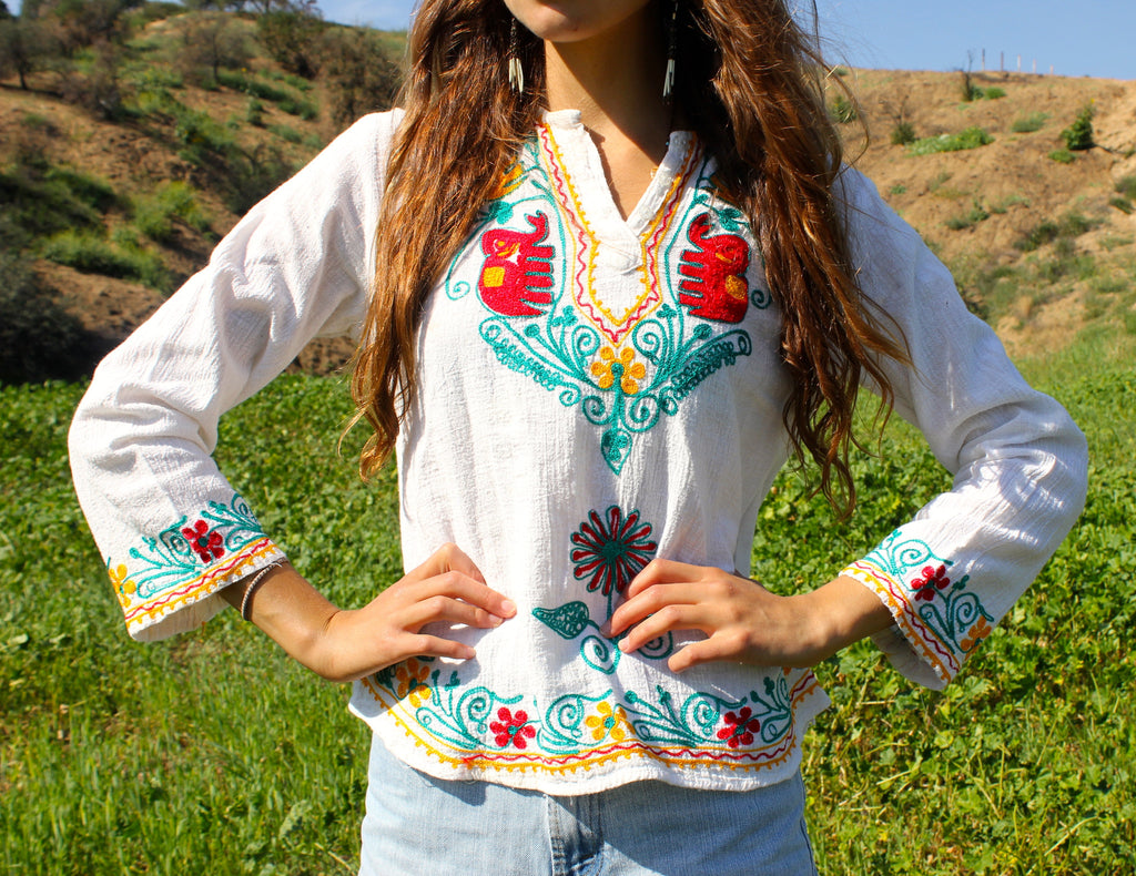 Gypsy Caravan Vintage Embroidered Indian Blouse