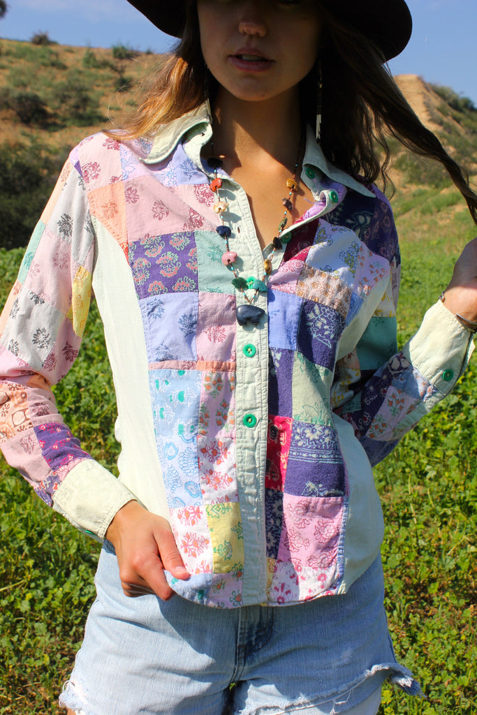 Indian Patchwork 1970s Cotton Button Down