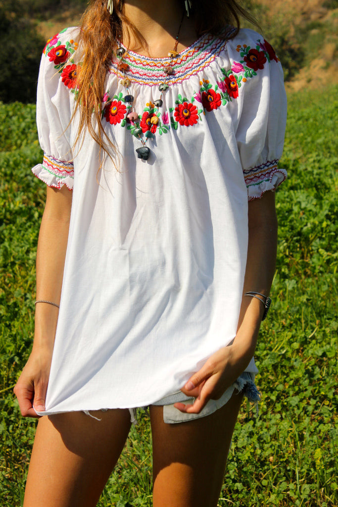 Vintage Hungarian hand Embroidered Peasant Blouse