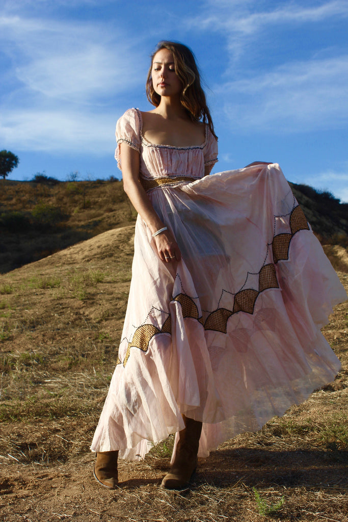 """Paper Moon"" Vintage Cotton Voile Maxi Dress"