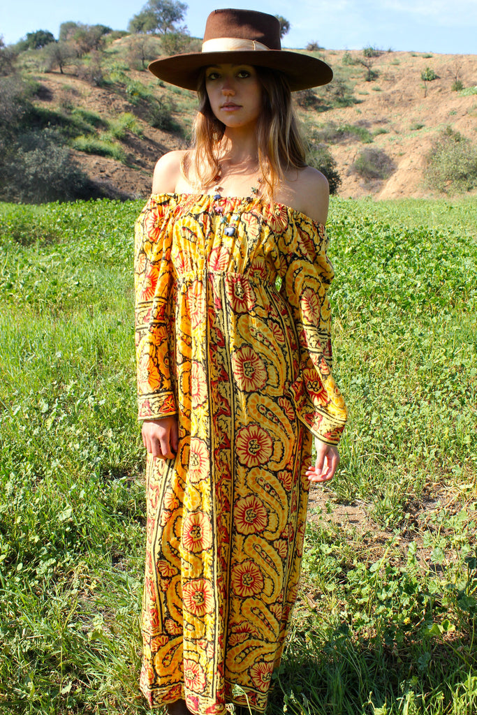 Bohemian Beauty 1970s Indian Block Print Maxi Dress