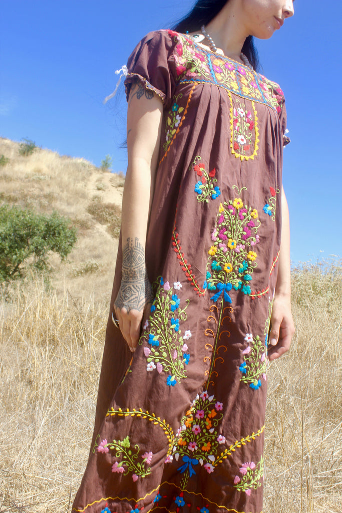 1970s Hand Embroidered Mexican Maxi Dress