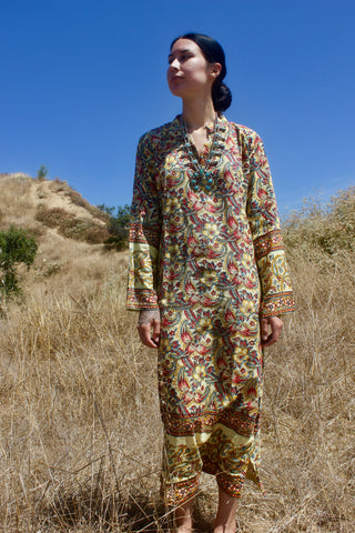 1970s Deadstock Indian Block Print Dress