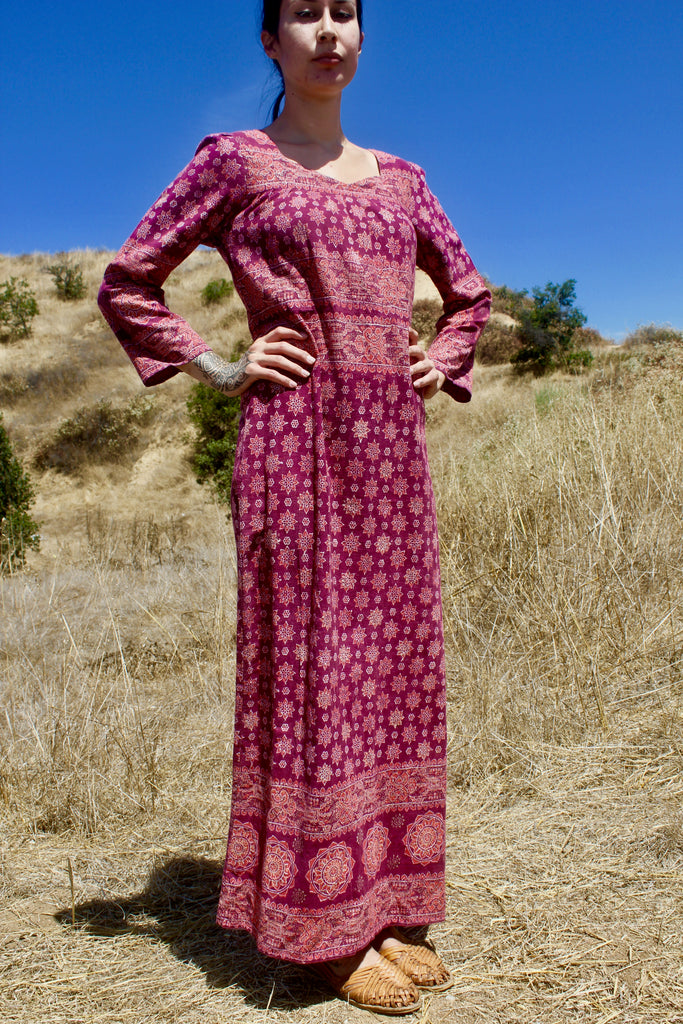 """The Sita"" 1970s Vintage Indian Cotton Hand Block Printed Maxi Dress"