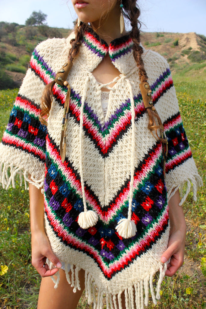 Groovy Vintage Handwoven Wool Poncho Circa ~ 1960s