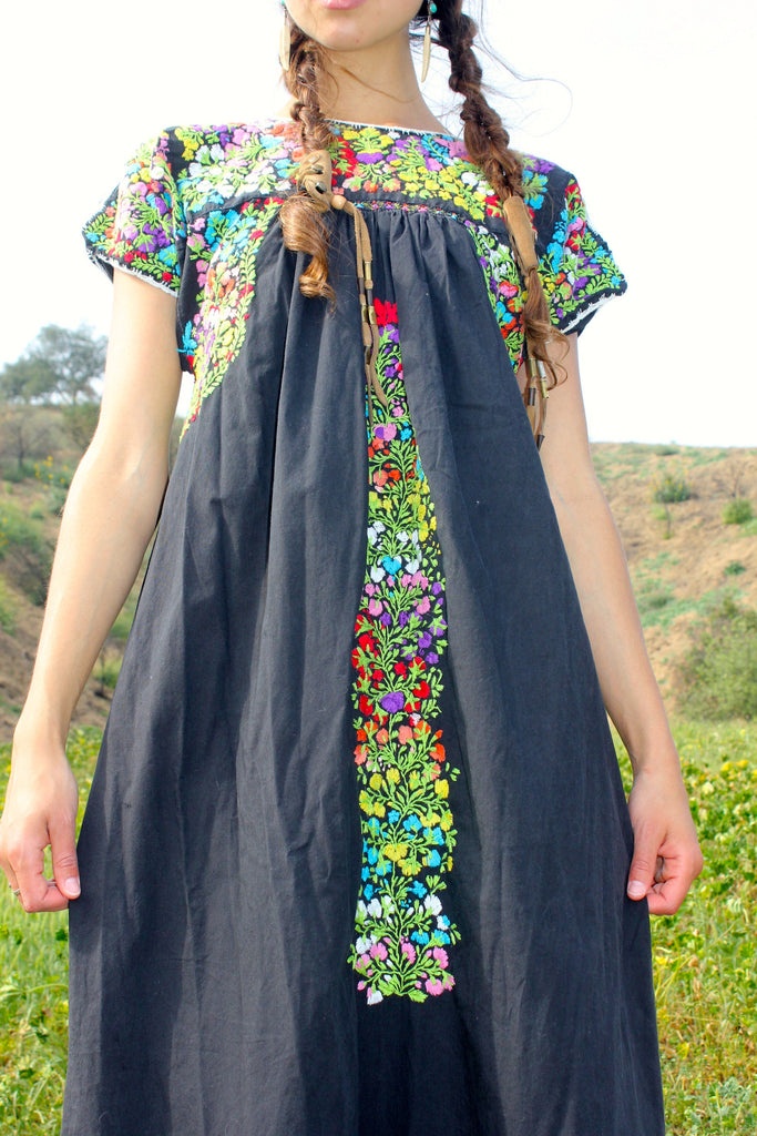 "Rare ""Black Beauty"" Vintage Oaxacan Maxi Dress Circa 1970s"