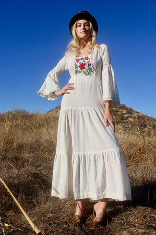 """The Rhiannon"" 1970s Hand Embrodiered Cheese Cloth Goddess Maxi Dress"