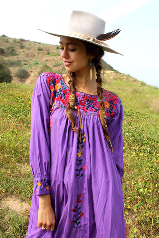 """Pretty Purple"" Vintage Hand Embroidered Oaxacan Maxi Dress"