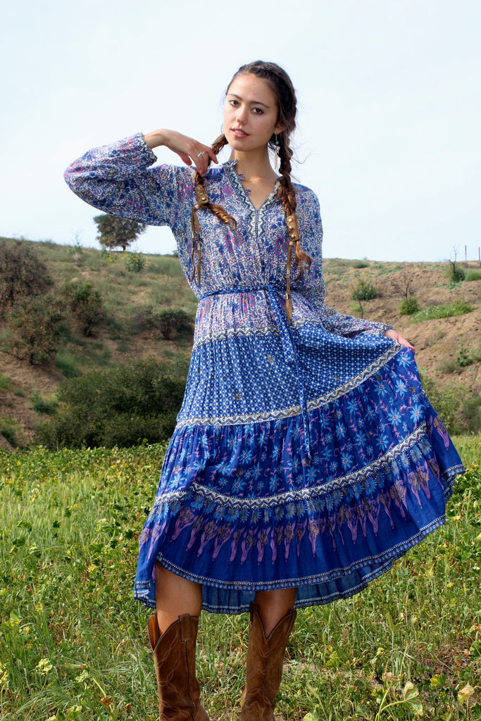 Beautiful Bohemian Vintage Indian Gauzy Dress Circa 1970s