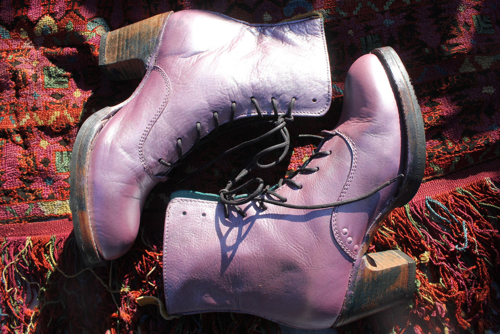 pskaufman no.0036 Hand Painted Crosswalk Ankle lace-up boot dilecta