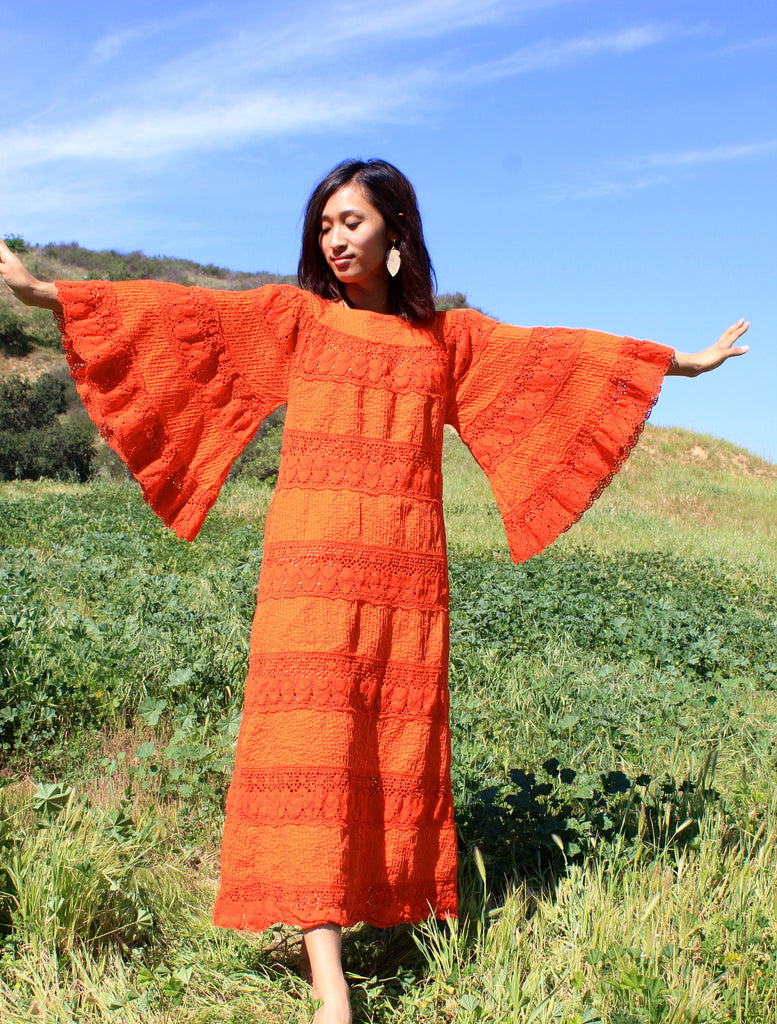 """Tangerine Dream"" Mega Angel Sleeves Crochet and Pintucked Cotton Maxi Dress"