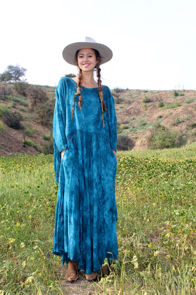 Moroccan Vintage Teal Green Fringed Maxi Dress