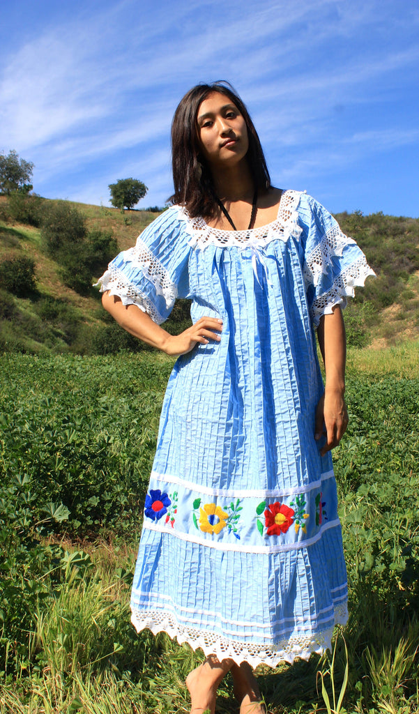 Baby Blue Mexican Dress