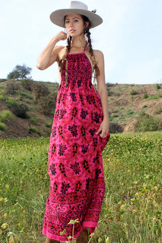 """Coachella Ready"" Vintage Indian Block Print Halter Maxi"