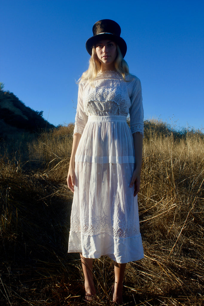 """Bellas Hess"" Victorian Eyelet and Lace FIne Cotton Dress Circa Early Century ORIGINAL LABEL!"