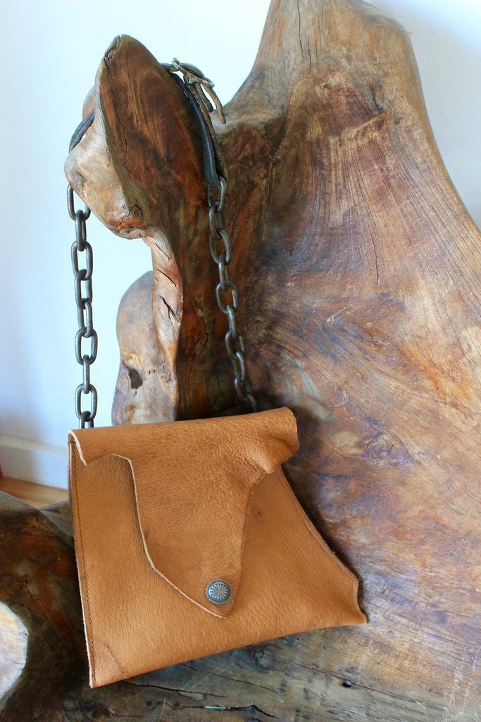 One-of-A-Kind Repurposed Chain and Elk Hide Purse