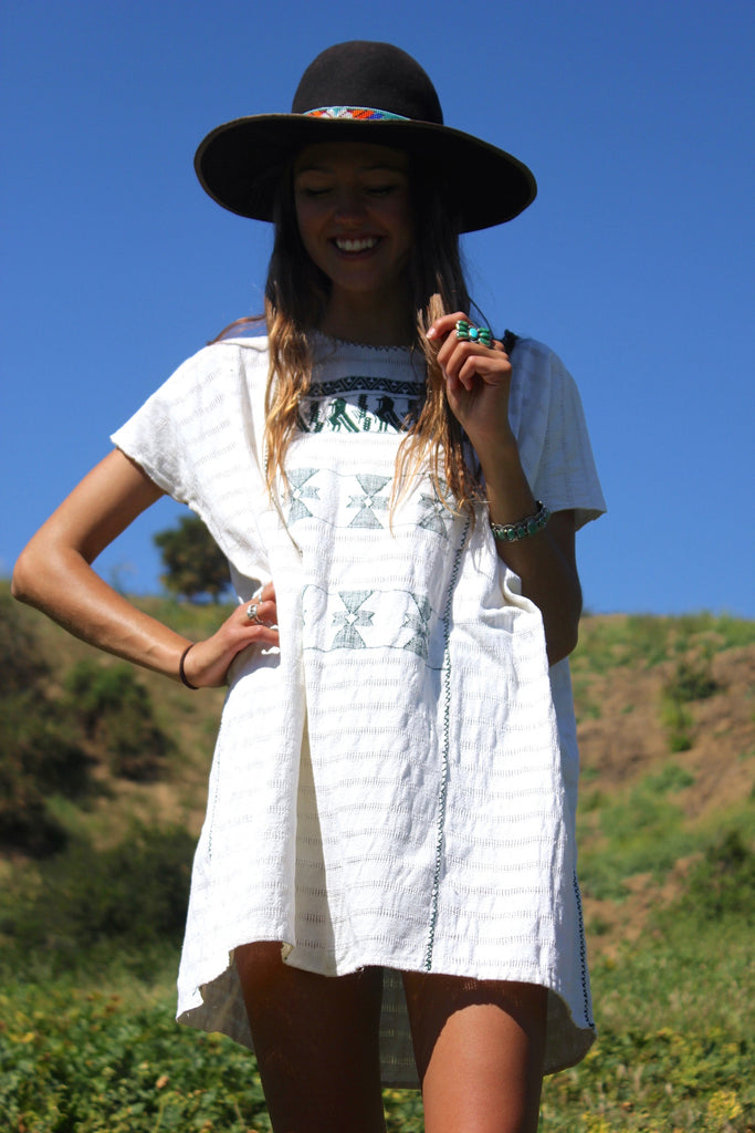Vintage Handwoven Mexican Huipil Cotton Tunic