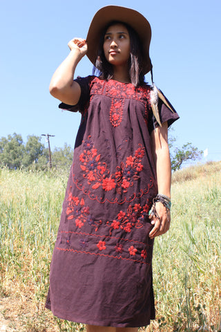 Overdyed Vintage Hand Embroidered Mexican Dress