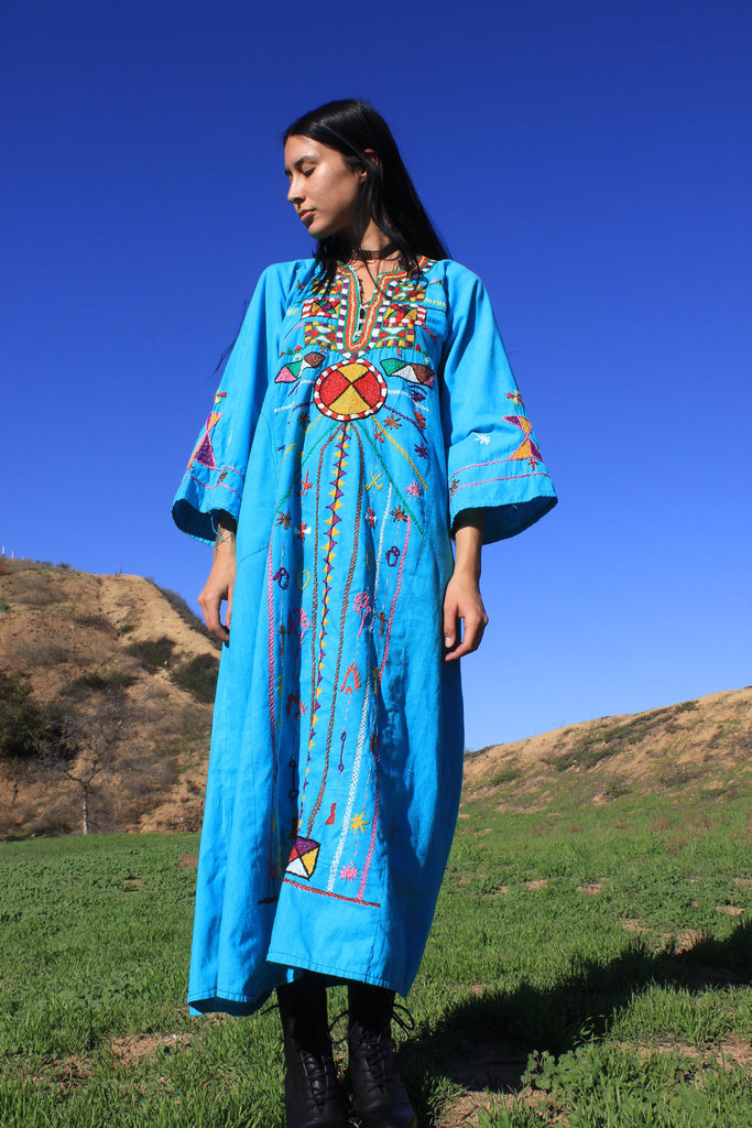 """Cosmic Folk""  RARE 1970s Hand Embroidered Egyptian Maxi Dress"