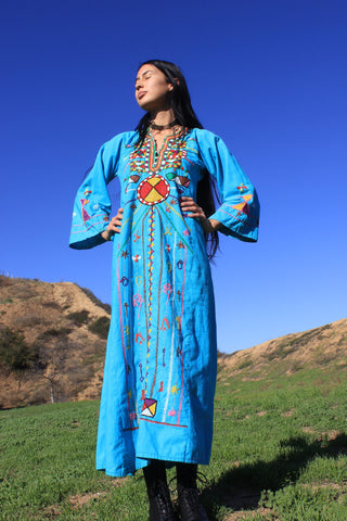 """Cosmic Folk"" 1970s Hand Embroidered Egyptian Maxi Dress"
